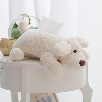 Cute Teddy Dog Plush Tissue Box