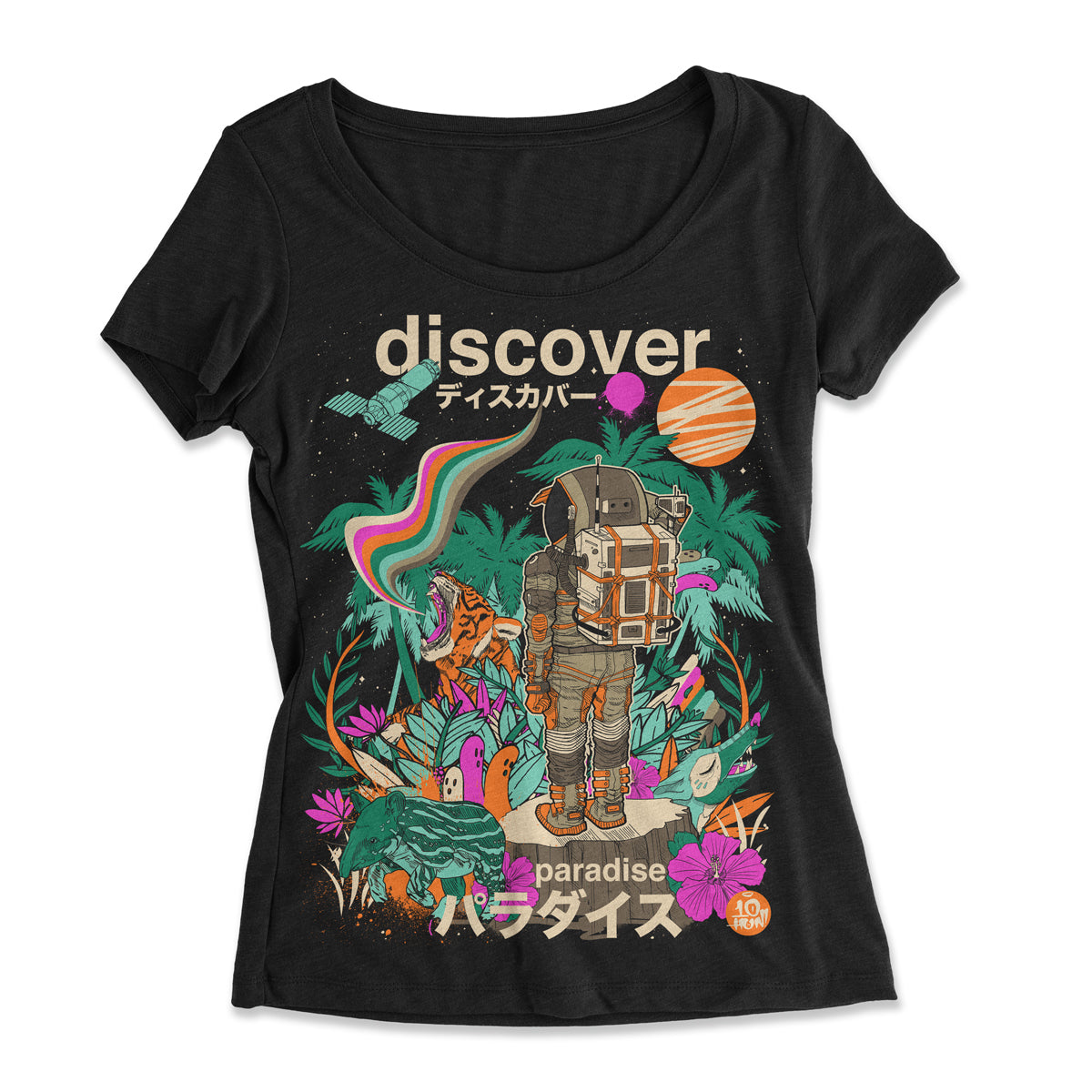 """Discover Paradise"" Women's Scoop Tee"
