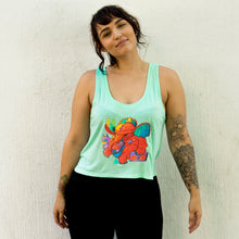"Load image into Gallery viewer, ""Tiger Elephant"" - Women's Flowy Boxy Crop Tank"