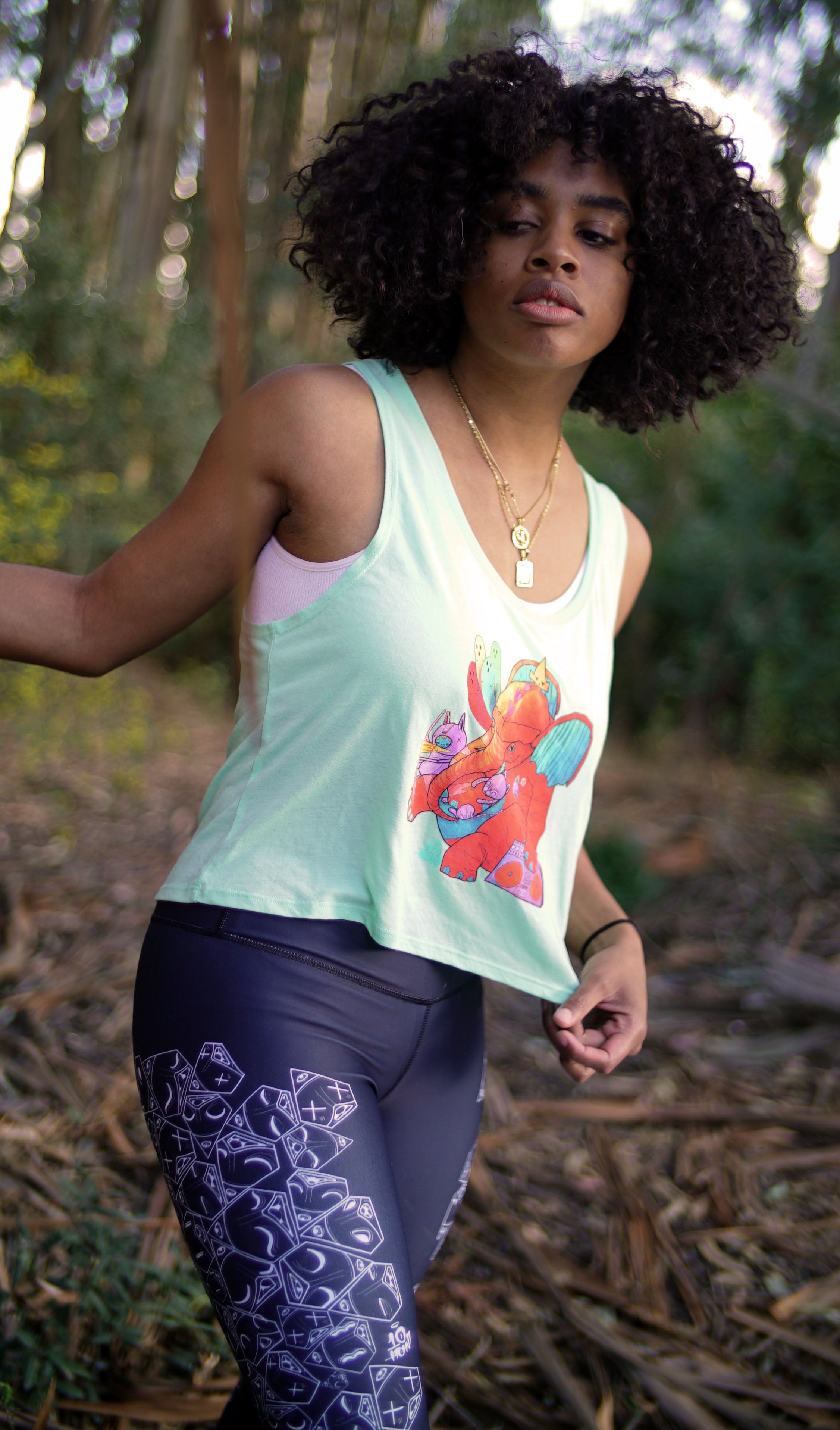 """Tiger Elephant"" - Women's Flowy Boxy Crop Tank"
