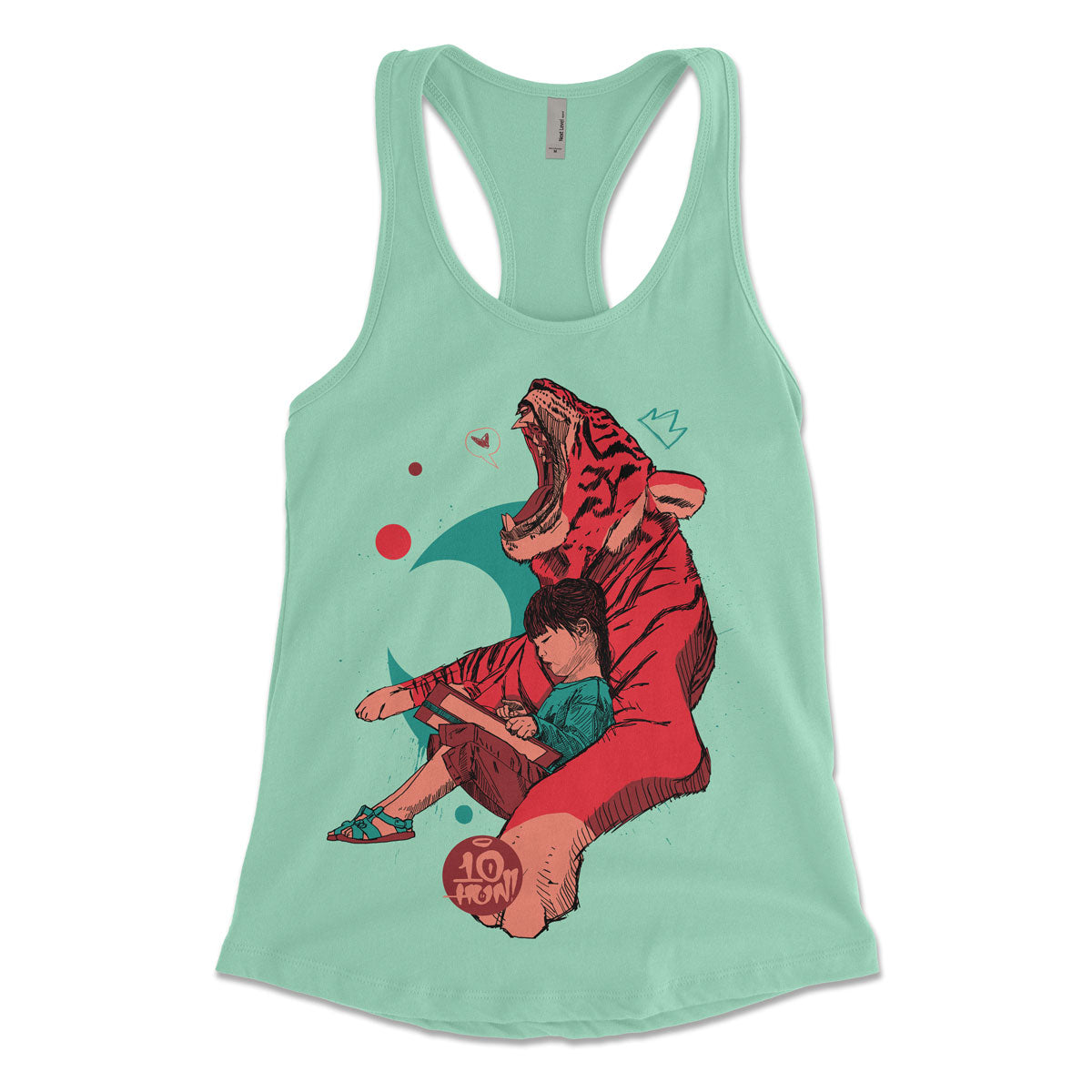 """Tiger and Girl"" Women's Racerbank Tank"