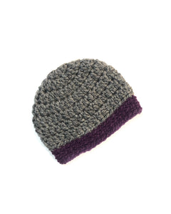 Gray & Purple Two Toned Beanie