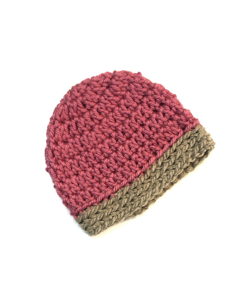 Pink & Taupe Two Toned Beanie