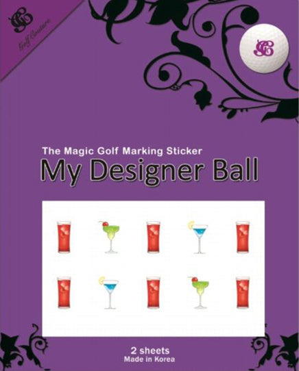 Golf Ball Sticker / Stamp - Cocktail
