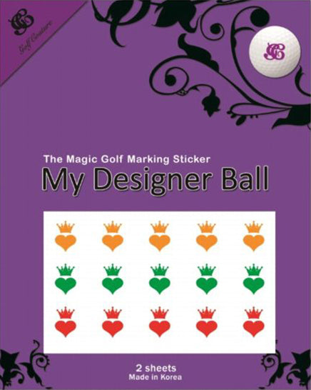 Golf Ball Sticker / Stamp - Heart and Crown