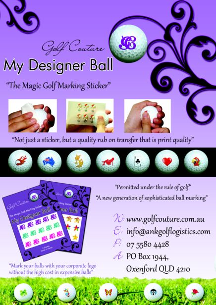 Golf Ball Sticker / Stamp - Multi colour stars