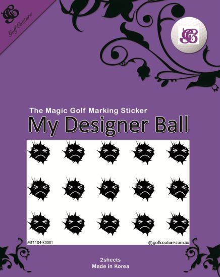 Golf Ball Sticker / Stamp - Angry Face