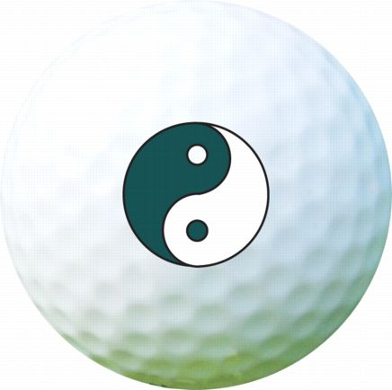 Golf Ball Sticker / Stamp - Ying and Yang