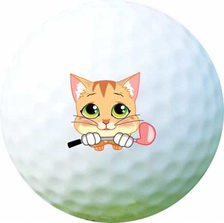 Golf Ball Sticker / Stamp - Pussy Cat with Golf Club