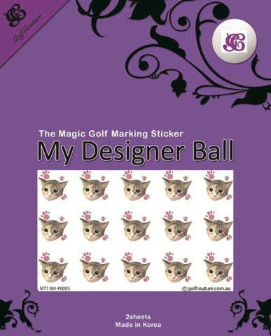 Golf Ball Sticker / Stamp - Cat and Paw