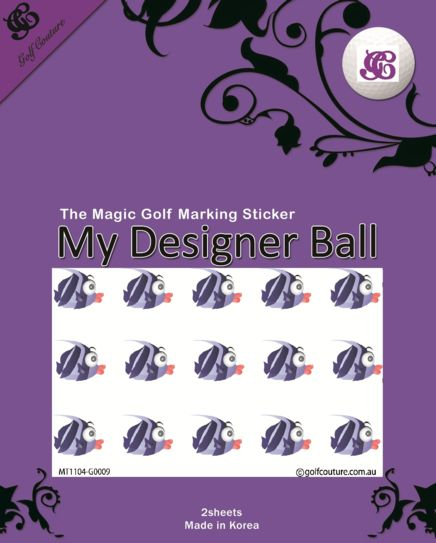 Golf Ball Sticker / Stamp - Fish