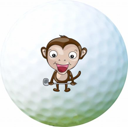 Golf Ball Sticker / Stamp - Monkey
