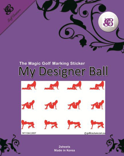 Golf Ball Sticker / Stamp - Nude Lady