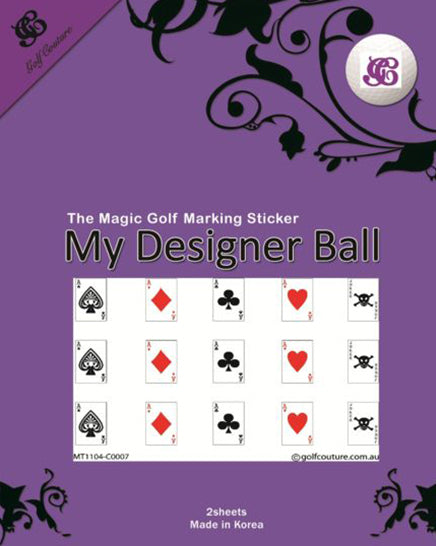 Golf Ball Sticker / Stamp - Playing Cards