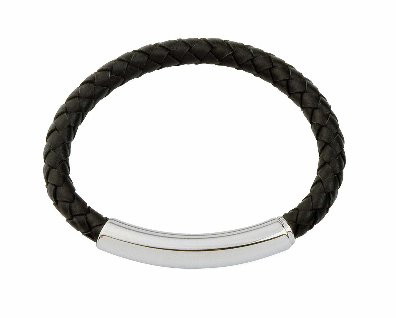 COB01 leather and steel adjustable bracelet