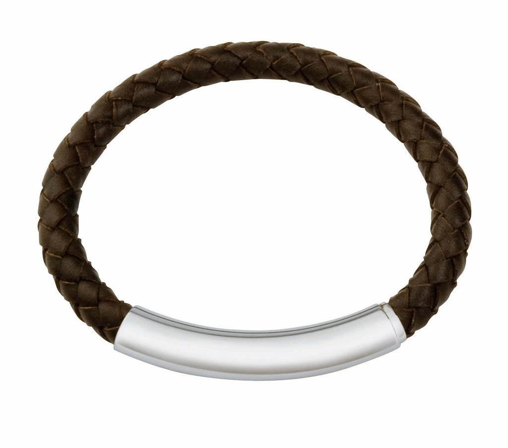 Cob02 leather and steel adjustable bracelet