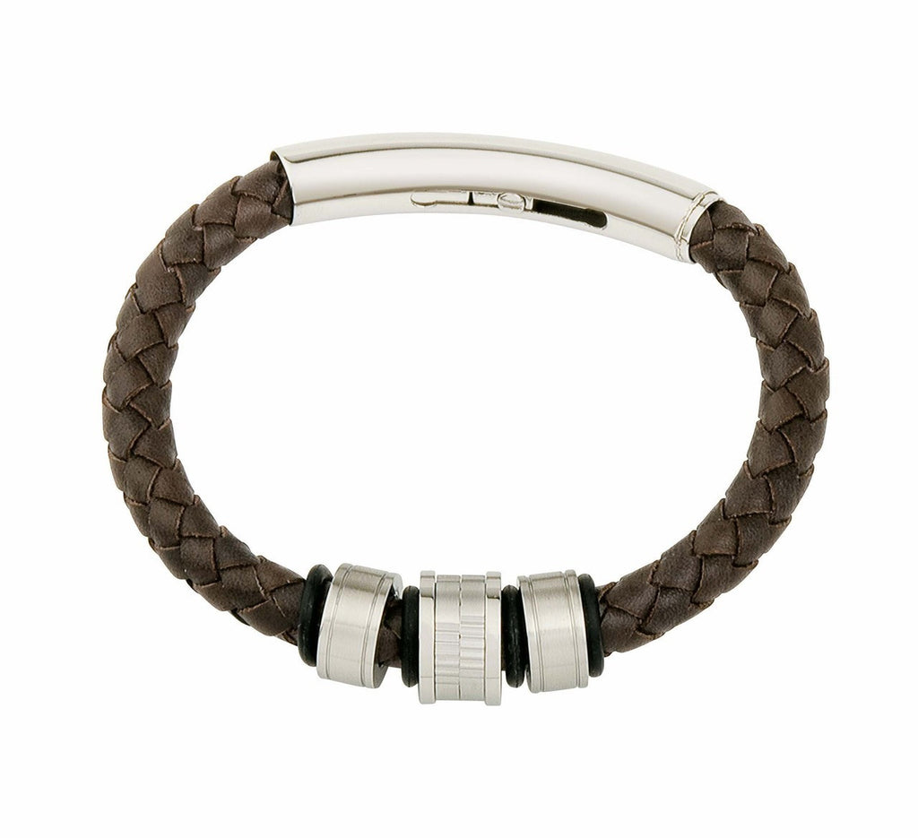 COB10 leather and steel adjustable bracelet