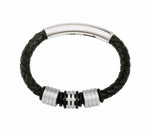 COB12 leather and steel adjustable bracelet