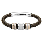 COB16 leather and steel adjustable bracelet