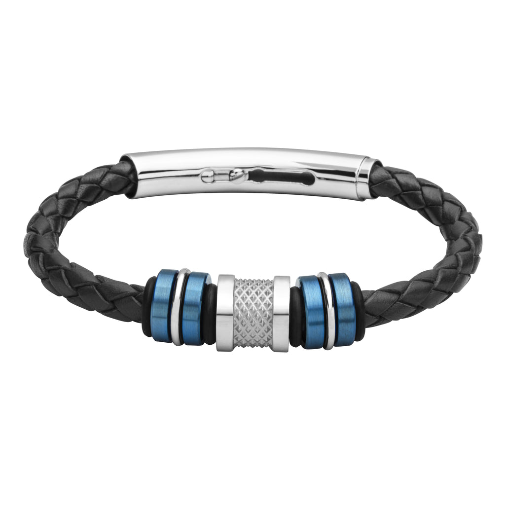 COB17 leather and steel adjustable bracelet