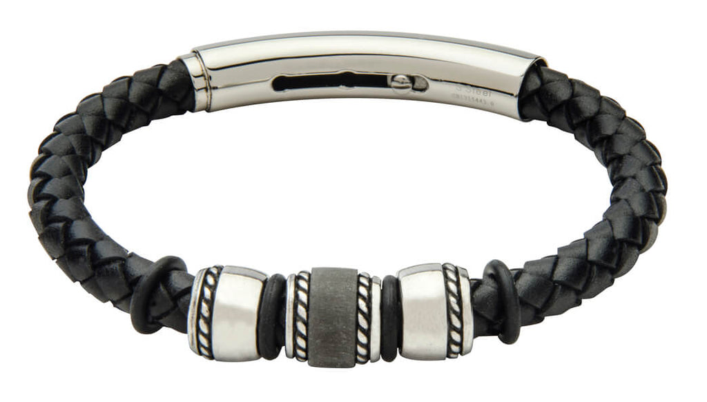 COB18-CAR leather and carbon fiber adjustable bracelet