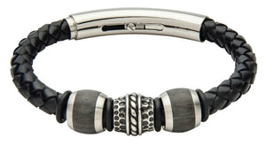 COB21-CAR leather and carbon fiber adjustable bracelet