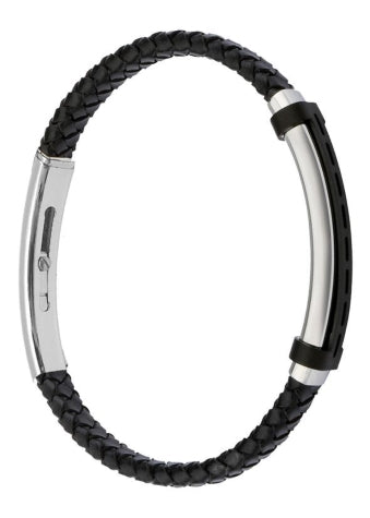 FUB06 leather and steel adjustable bracelet
