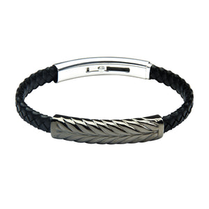 FUB10 leather and steel adjustable bracelet