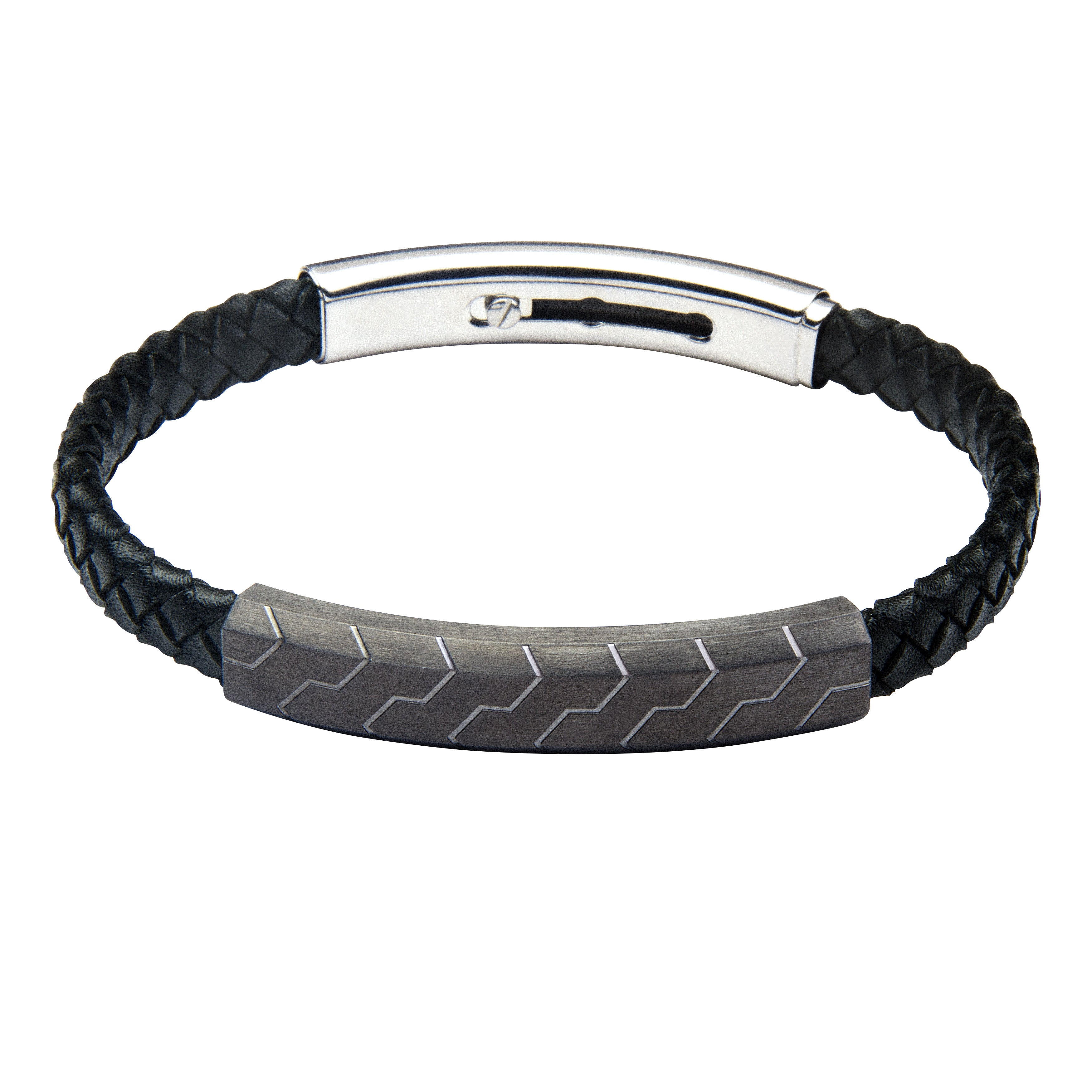 FUB12 leather and steel adjustable bracelet