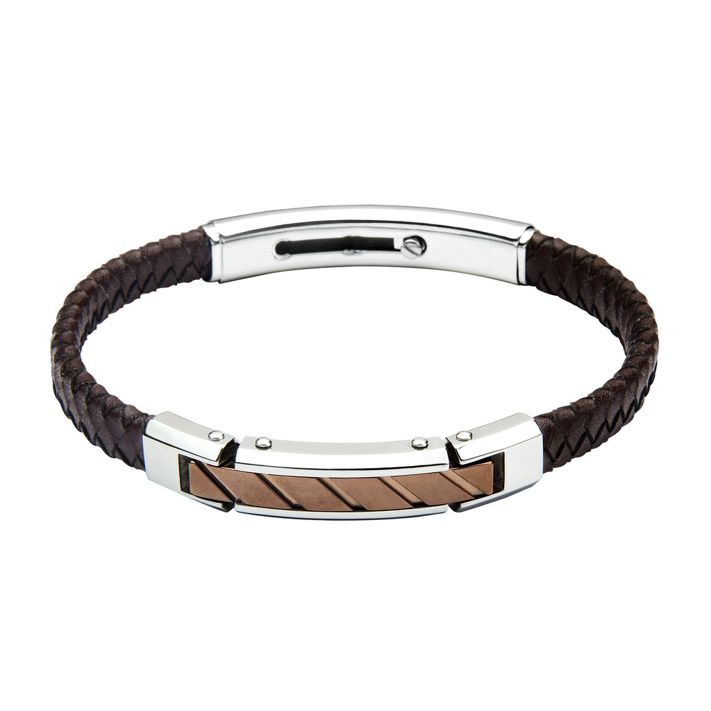 FUB14 leather and steel adjustable bracelet