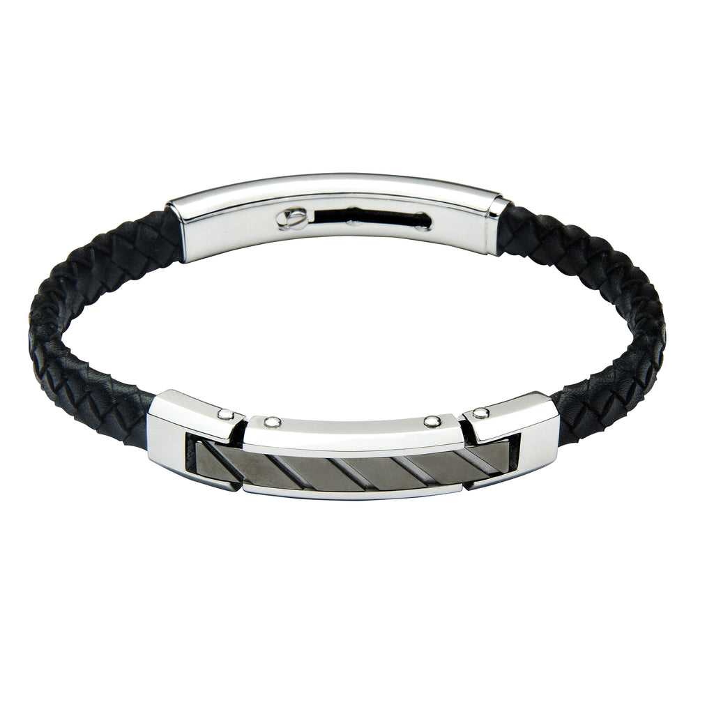 FUB15 leather and steel adjustable bracelet