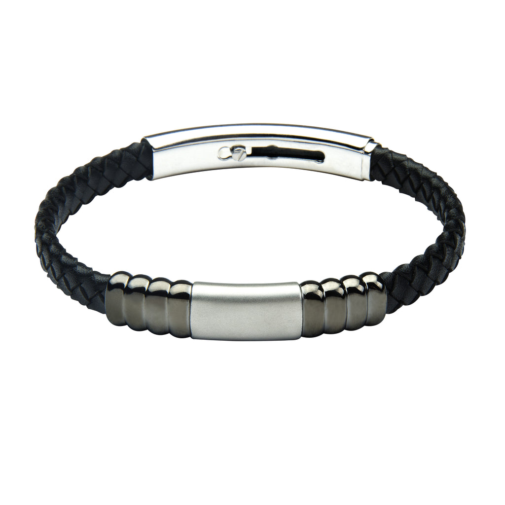 FUB16 leather and steel adjustable bracelet