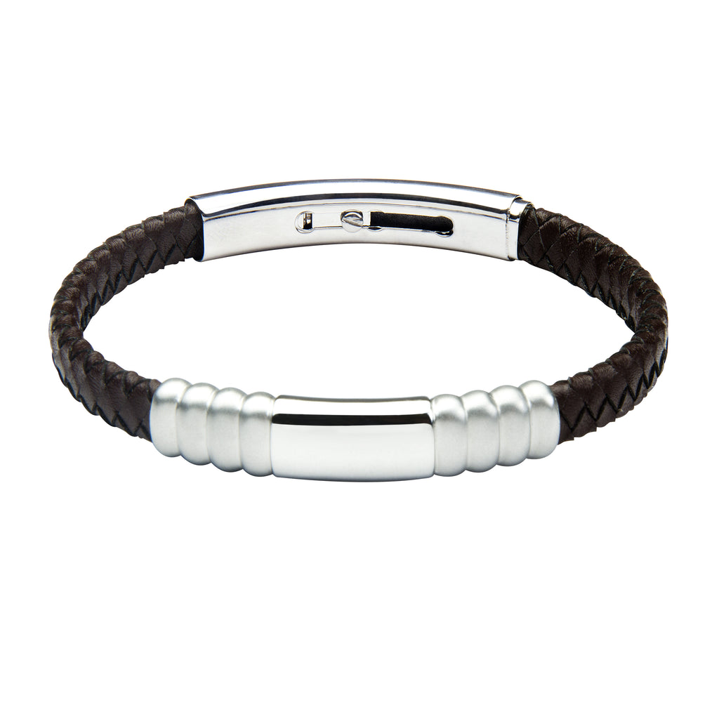 FUB17 leather and steel adjustable bracelet