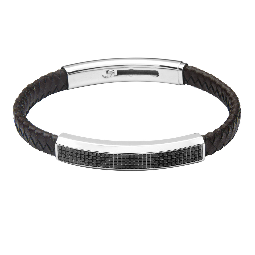 FUB19 leather and steel adjustable bracelet