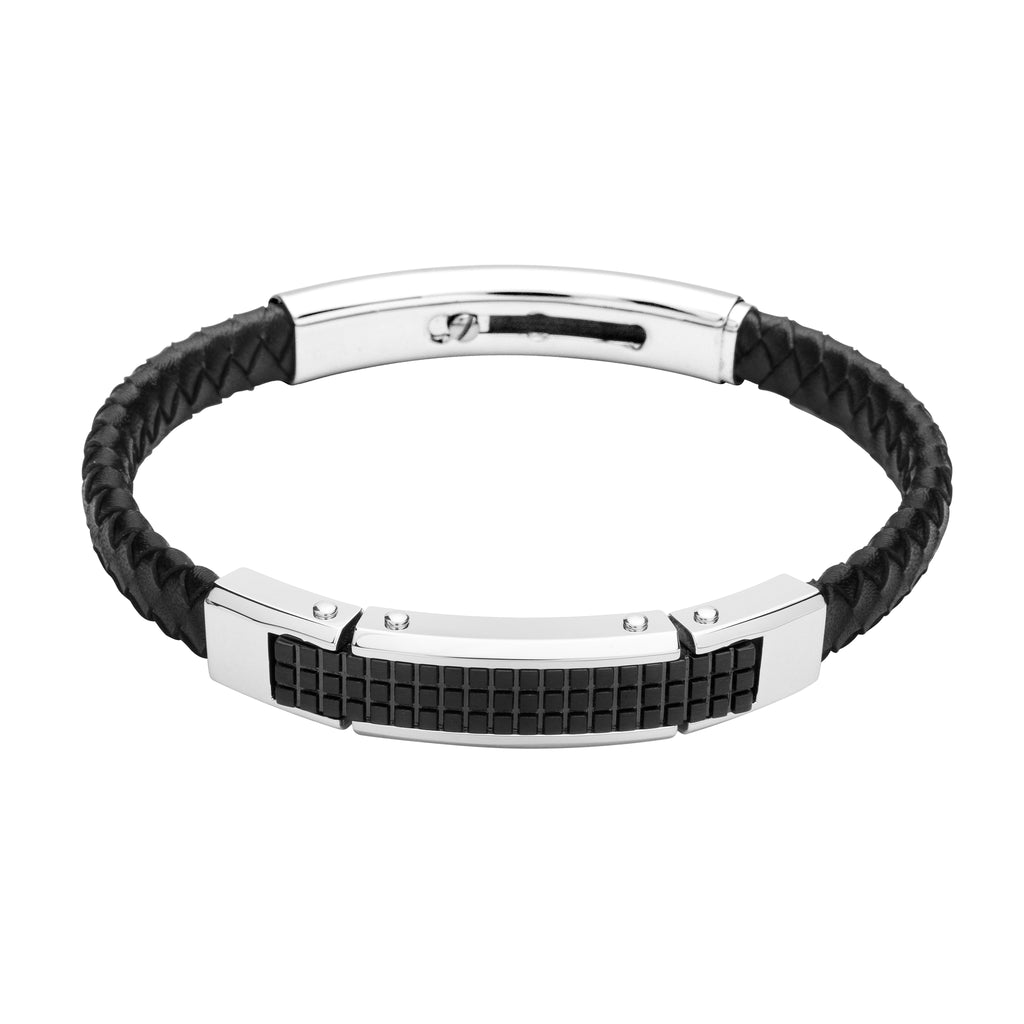 FUB20 leather and steel adjustable bracelet