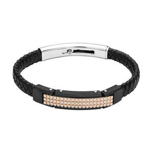 FUB21 leather and steel adjustable bracelet