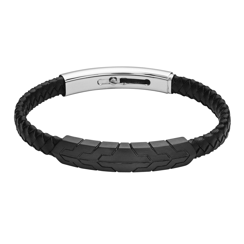 FUB24 leather and steel adjustable bracele