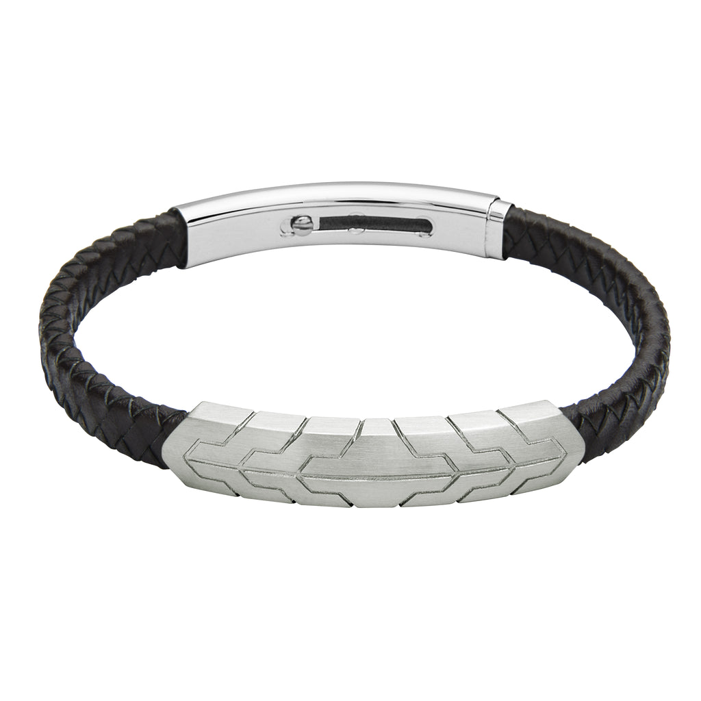FUB25 leather and steel adjustable bracele