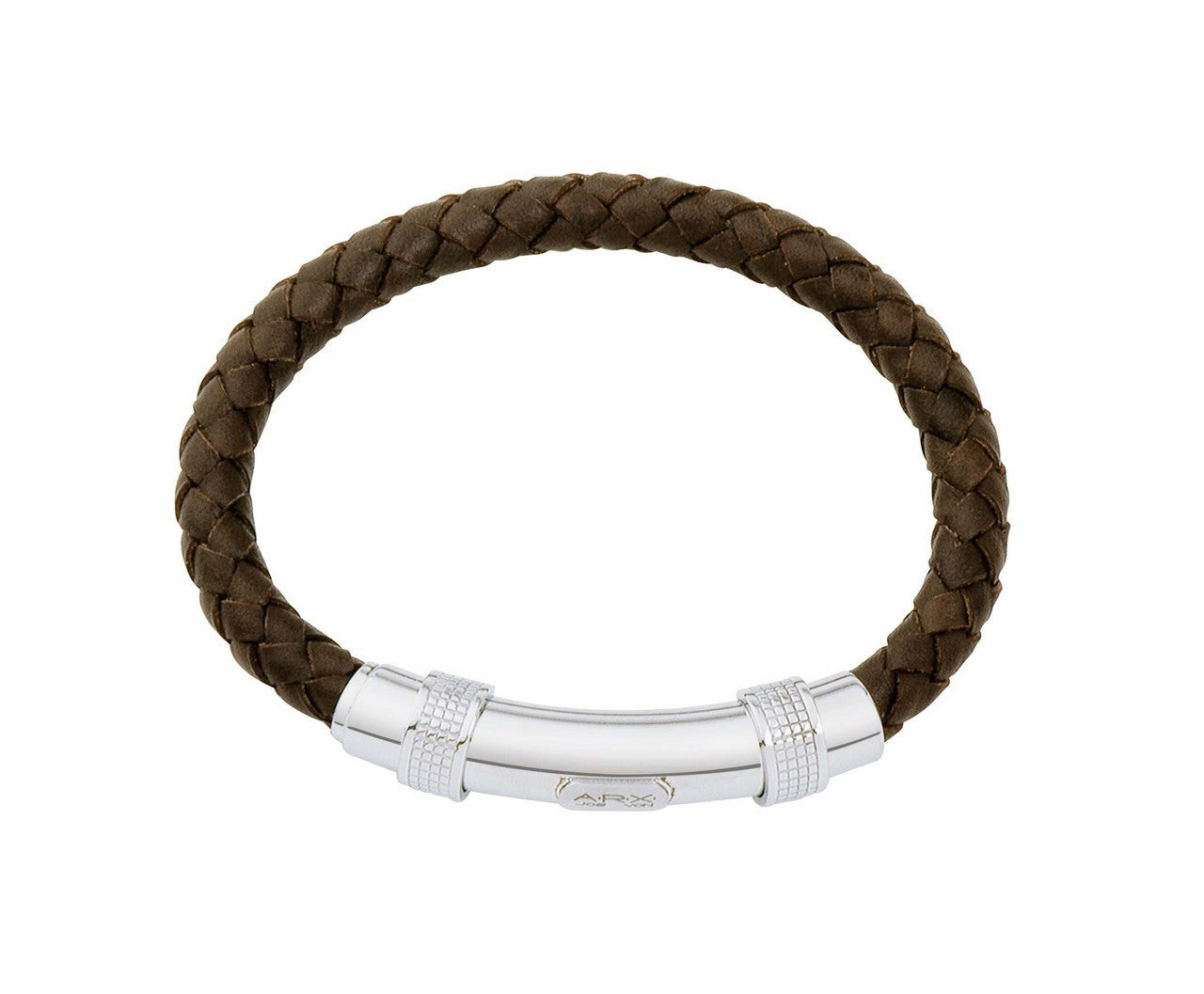 INB02 leather and steel adjustable bracelet