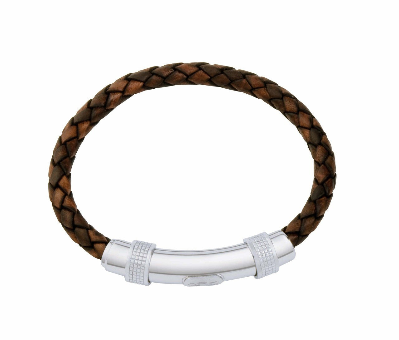 INB06 leather and steel adjustable bracelet