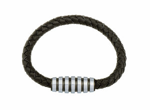 INB07 leather and steel adjustable bracelet