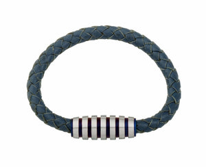 INB09 leather and steel adjustable bracelet