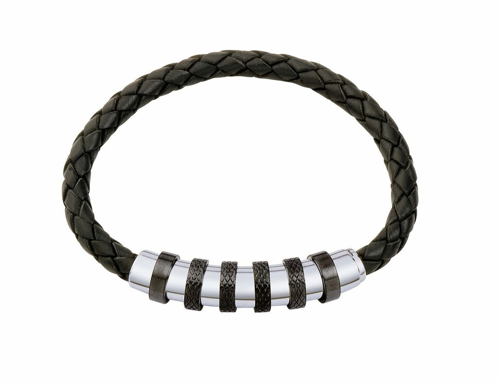 INB14 leather and steel adjustable bracelet
