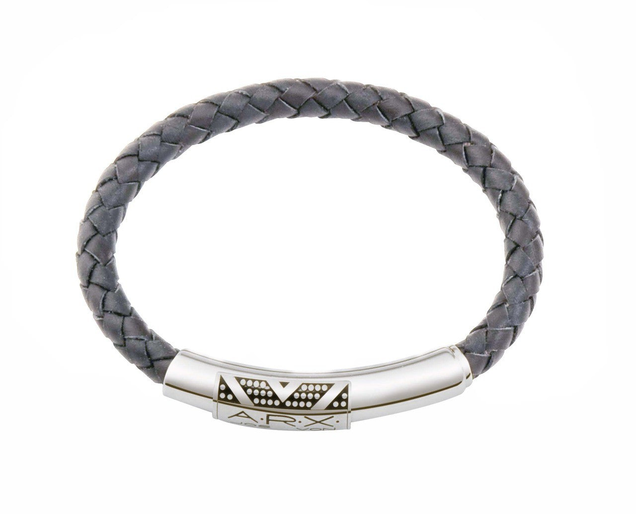 INB15 leather and steel adjustable bracelet