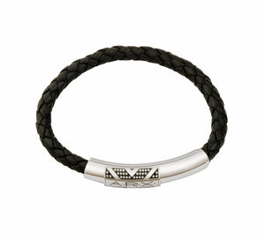 INB16 leather and steel adjustable bracelet