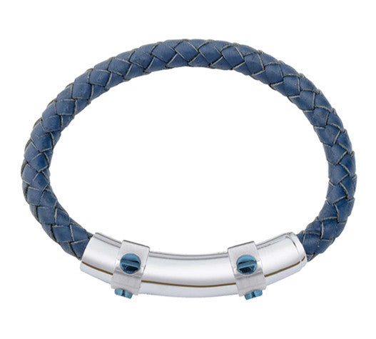 INB22 leather and steel adjustable bracelet