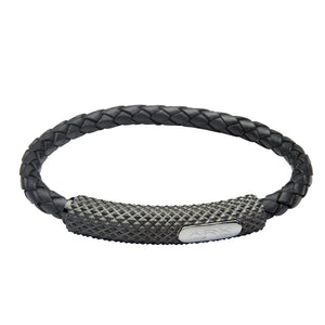 INB24 leather and steel adjustable bracelet