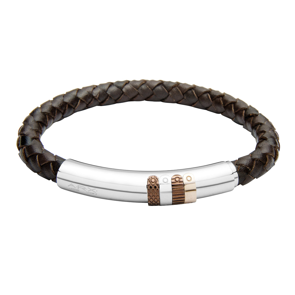INB30 leather and steel adjustable bracelet