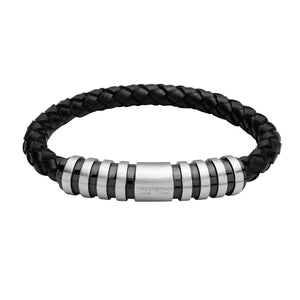 INB34 leather and steel adjustable bracelet
