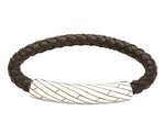 INB36 leather and steel adjustable bracelet